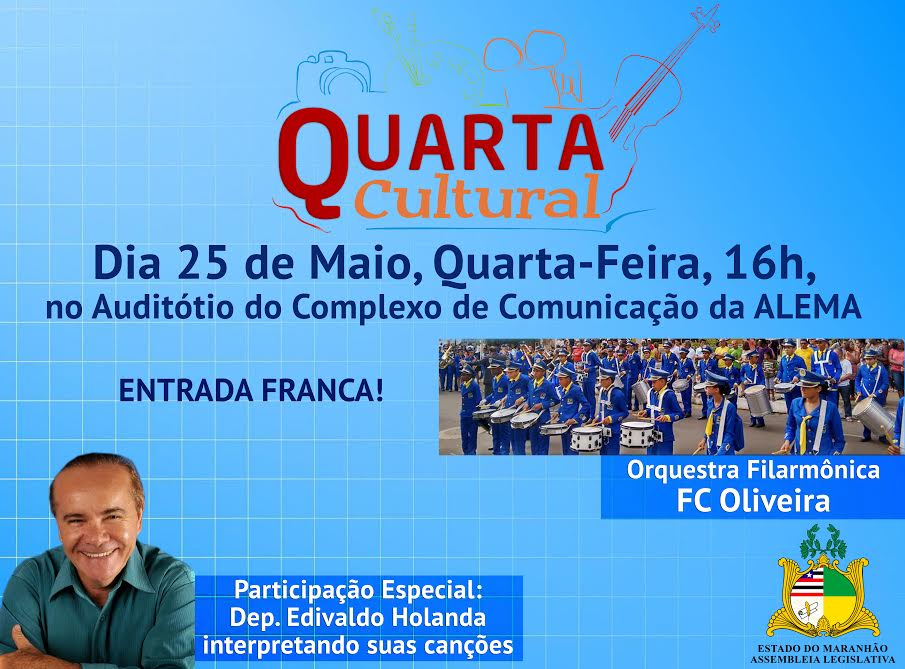 Orquestra Filarmônica FC Oliveira e deputado Edivaldo Holanda são as próximas atrações do 'Quarta Cultural'
